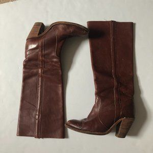 FRYE Brown Leather Pull On Boot Tall